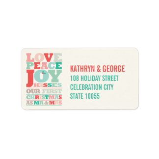 First Christmas Mr and Mrs Holiday Photo Greetings Address Label