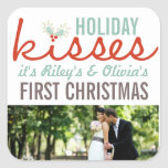 First Christmas Mr. & Mrs. Holiday Kisses Gift Tag Square Sticker