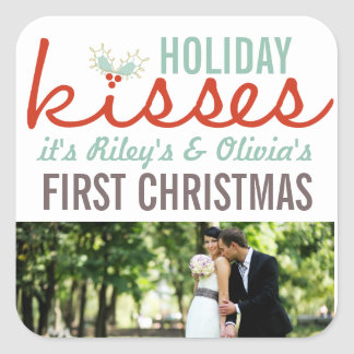 First Christmas Mr. & Mrs. Holiday Kisses Gift Tag Sticker