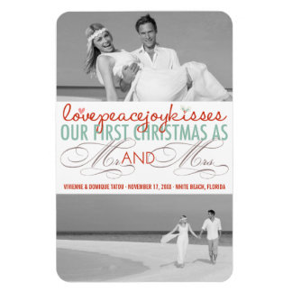 First Christmas Mr. & Mrs. Holiday Photo Greetings Rectangular Photo Magnet