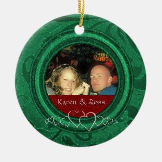 First Christmas Mr. Mrs. Newly Wed | Custom Photo Round Ceramic Decoration
