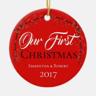 First Christmas - Name & Date - Christmas Ornament