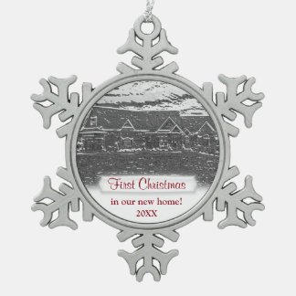 First Christmas new home Metallic look Snowflake Pewter Christmas Ornament