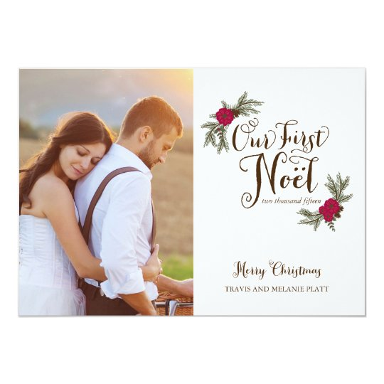 First Christmas Newlyweds Holiday Multi Photo Card
