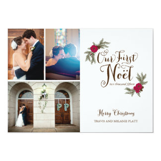 First Christmas Newlyweds Holiday Multi Photo Card 13 Cm X 18 Cm Invitation Card