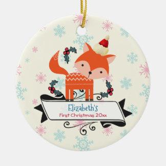 First Christmas Orange Fox In Santa Hat Custom Round Ceramic Decoration