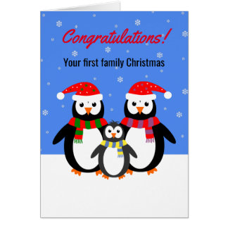First Christmas penguin family editable text Greeting Card
