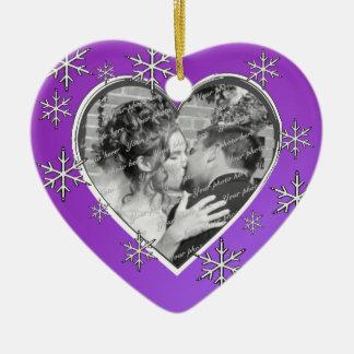 First Christmas Photo Heart Ceramic Heart Decoration