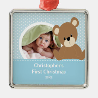 First Christmas Photo Ornament Cute Baby Bear Boy