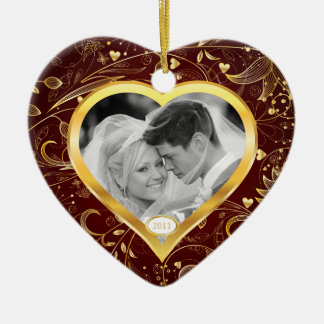 First Christmas Photo Ornament Gold Heart