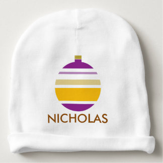 First Christmas Purple and Yellow Striped Ornament Baby Beanie