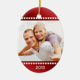 First Christmas Red Hearts Photo Frame Ceramic Oval Decoration