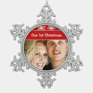 First Christmas snowflake holidays Snowflake Pewter Christmas Ornament