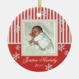 First Christmas Snowflakes Red Round Ceramic Decoration