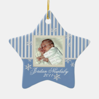 First Christmas Star and Snowflakes Blue Double-Sided Star Ceramic Christmas Ornament