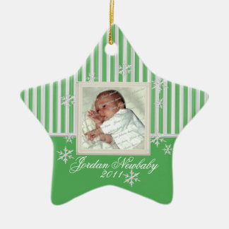First Christmas Star and Snowflakes Green Christmas Ornament