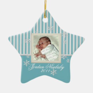 First Christmas Star and Snowflakes Light Blue Christmas Ornament