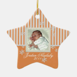 First Christmas Star and Snowflakes Orange Cream Ceramic Star Decoration