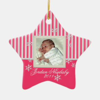 First Christmas Star and Snowflakes Pink Christmas Ornament
