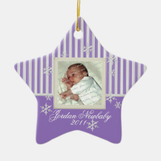 First Christmas Star and Snowflakes Purple Christmas Ornament