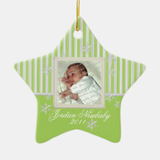 First Christmas Star and Snowflakes Spring Green Ceramic Star Decoration