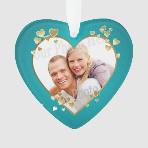 First Christmas Teal Heart Photo