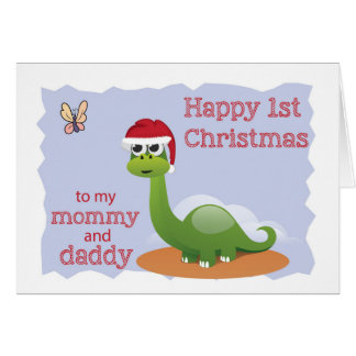 First Christmas to Mommy & Daddy, Cute Dinosaur Card