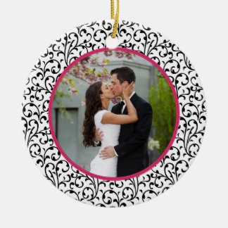 First Christmas Together Chic Floral Photo Round Ceramic Decoration