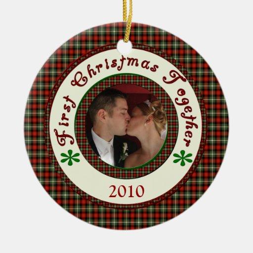 First Christmas Together Custom Holiday Photo Christmas Ornaments