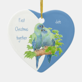 First Christmas Together Dated Cuddling Birds Christmas Ornament