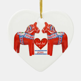 First Christmas Together Dated Swedish Dala Horse Ceramic Heart Decoration