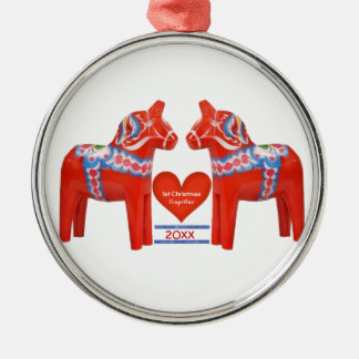 First Christmas Together Dated Swedish Dala Horse Christmas Ornament