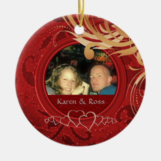 First Christmas Together Married Mr. Mrs. Photo Round Ceramic Decoration