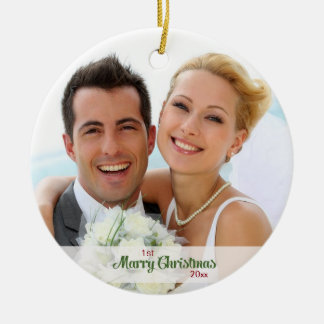 First Christmas Together- Newly Weds Double-Sided Ceramic Round Christmas Ornament