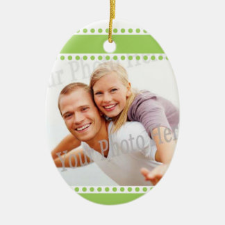 First Christmas Together Photo Lime Polka-dots Ceramic Oval Decoration