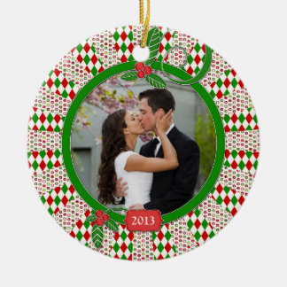 First Christmas Together Photo Unique Red Green Round Ceramic Decoration