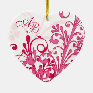 First Christmas Together Pink Floral Wedding Heart Christmas Ornament