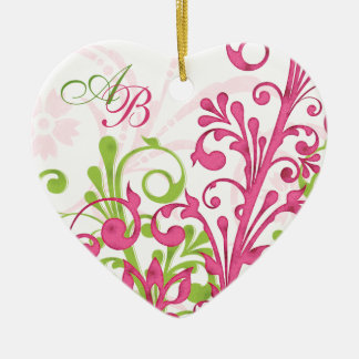First Christmas Together Pink Green Wedding Heart Christmas Ornament