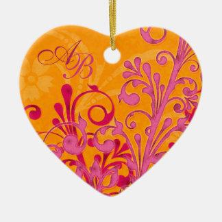 First Christmas Together Pink Orange Wedding Heart Ceramic Heart Decoration
