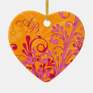 First Christmas Together Pink Orange Wedding Heart Christmas Ornament