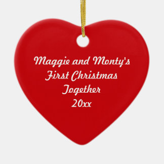 First Christmas Together ~ Red Heart Christmas Ornament