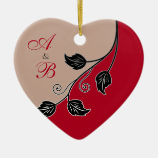 First Christmas Together Red Vine Wedding Heart Ceramic Heart Decoration