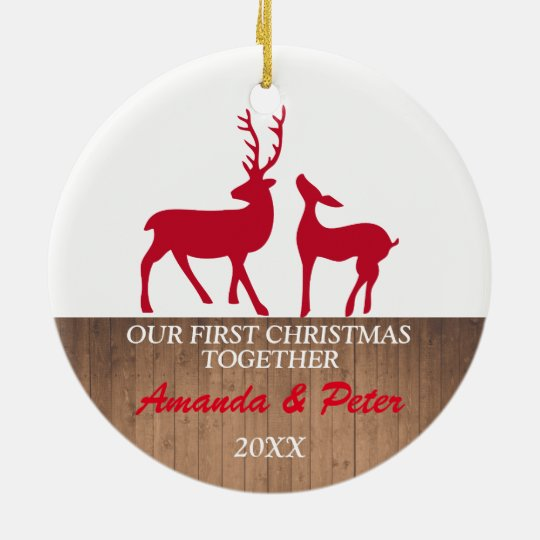 First Christmas together rustic ornament | deers