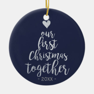 First Christmas together silver and blue ornament