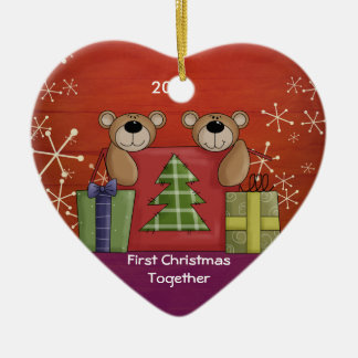 First Christmas Together Teddy Bear Custom Photo Christmas Ornament