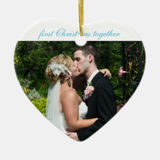First Christmas together - Wedding Remembrance Ceramic Heart Decoration
