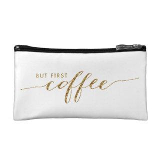 First Coffee Faux Glitter Confetti Cosmetic Bag