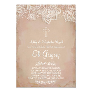 First Communion ~ Baptism Invitation Pink Vintage