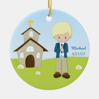 First Communion, Blonde Boy, Church Round Ceramic Decoration