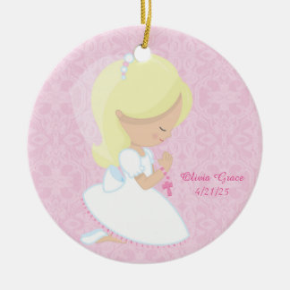 First Communion, Blonde Girl Round Ceramic Decoration